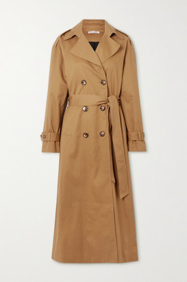 Reformation Holland Double-breasted Cotton-blend Trench Coat - Brown