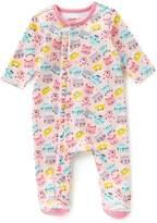 Zutano Baby Girls Newborn-6 Months Ruffle Cat-Print Footed Coverall