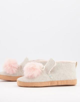Toms Nahla pom pom fluffy slippers in pink