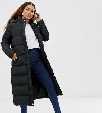 Brave Soul Petite longline puffer jacket with faux fur trim hood