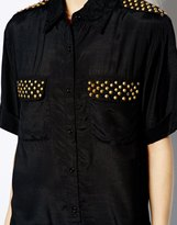 Gestuz Short Sleeved Shirt with Studs