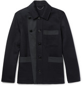 Burberry Runway Gabardine-trimmed Double-faced Cashmere Jacket - Navy