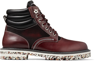 Jimmy Choo ODIN Bordeaux Pull Up Leather Boots with Canvas Panels