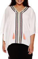 Bisou Bisou Embroidered Caftan Top - Plus
