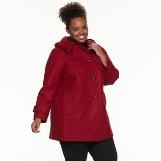 Plus Size TOWER by London Fog Hooded Wool-Blend Coat