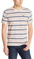 U.S. Polo Assn. Men's Multi Color Shadow Striped V-Neck T-Shirt