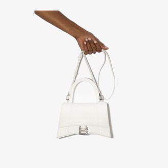 Balenciaga white Hourglass leather shoulder bag