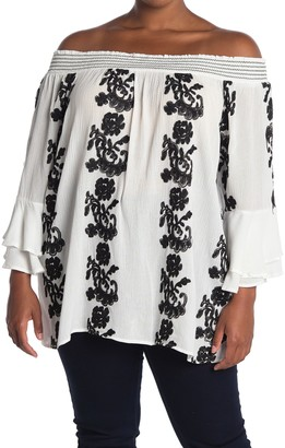 Forgotten Grace Roller Embroidered Print Off-the-Shoulder Peasant Blouse (Plus Size)