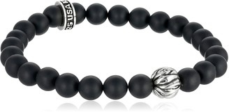 """King Baby Studio Men's 8mm Sterling Silver Feather Bead with Onyx Bracelet 8.75"""""""