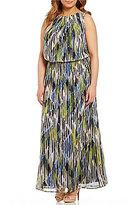 London Times Plus Printed Chiffon Blouson Maxi Dress