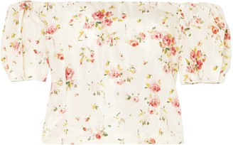 Brock Collection Boie Off-the-shoulder Floral-print Silk Blouse
