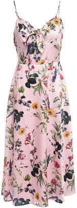 Bailey 44 Knotted Floral-print Satin-twill Midi Dress