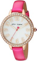 Betsey Johnson Women's Quartz Metal and Leather Casual Watch, Color:Pink (Model: BJ00552-06)