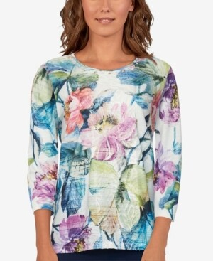 Thumbnail for your product : Alfred Dunner Women's Missy Bryce Canyon Floral Center Lace Top
