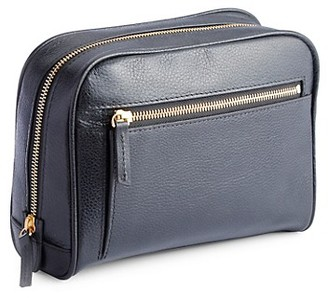 Royce New York Pebbled Leather Zip Toiletry Bag