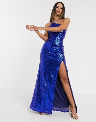 Goddiva one shoulder sequin maxi dress in blue