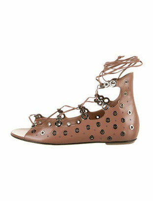 Alaia Leather Studded Accents Gladiator Sandals Brown