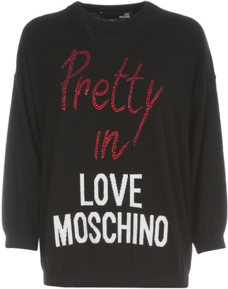 Love Moschino Logo Embellished Fine-Knit Sweater