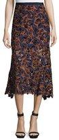 Saloni Bibi Guipure Lace Midi Skirt, Navy/Orange