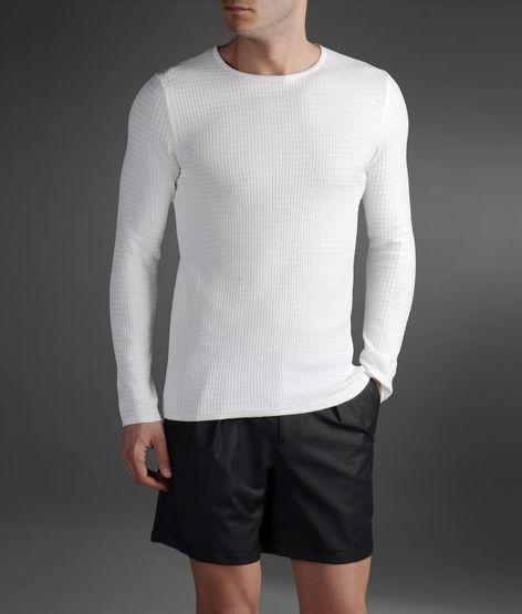 Emporio Armani Sweater In Check Textured Cotton