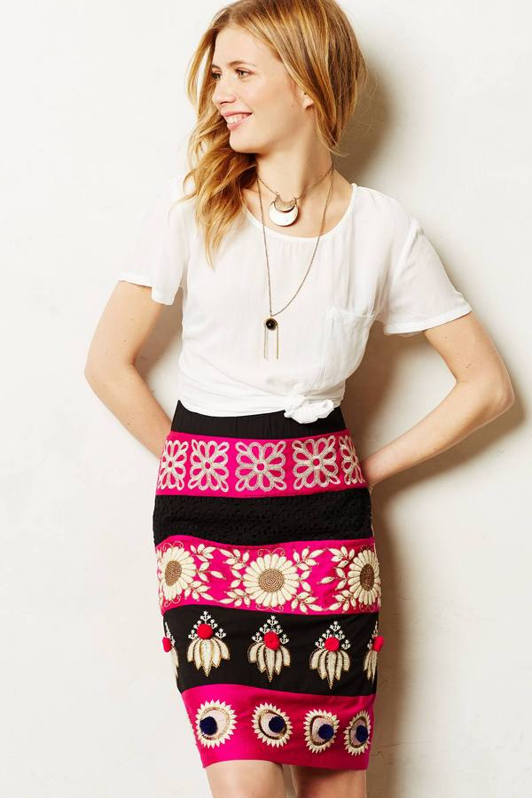 Anthropologie Embroidered Catrina Pencil Skirt