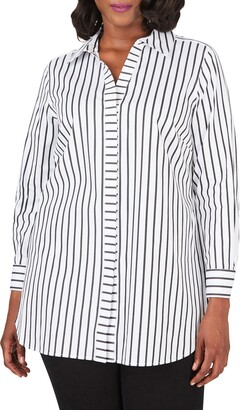 Foxcroft Vera Career Stripe Button-Up Shirt