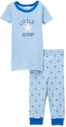 Sweet & Soft Boys' Sleep Bottoms - Light Blue Stars Pajama Set - Infant & Toddler