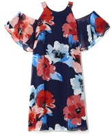 Vince Camuto Floral-print Cold-shoulder Dress