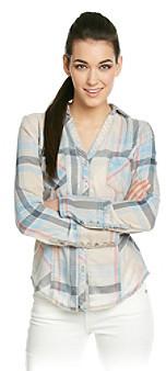Silver Jeans Co. Plaid Shirt With Burnout Wash