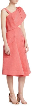 Carven Asymmetric Chambray Fit-&-Flare Dress