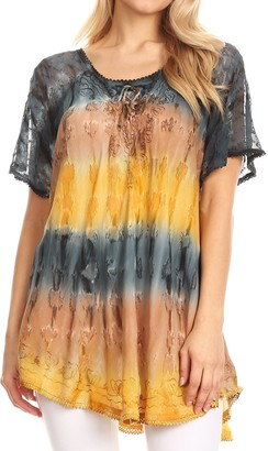 Sakkas 16786 - Monet Long Tall Tie Dye Ombre Embroidered Cap Sleeve Blouse Shirt Top - Grey/Coral - OS