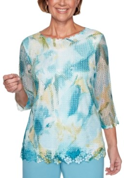 Alfred Dunner Chesapeake Bay Abstract Floral-Trim Mesh Top