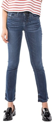 Silver Jeans Co. Women's Aiko Mid Rise Slim Bootcut Jeans Dark Indigo Wash 32x33