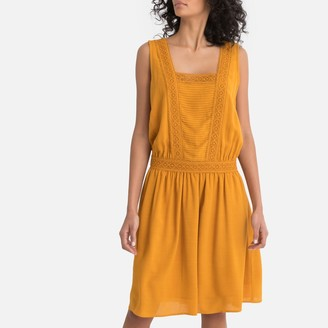 La Redoute Collections Pleated Drop Waist Dress with Braid Trim
