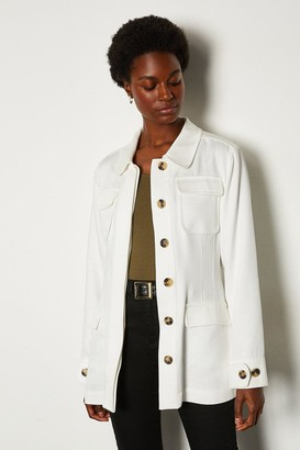 Karen Millen Tencel Belted Safari Jacket