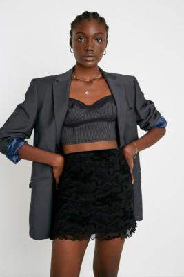Urban Outfitters Flocked Dragon Print '90s Mesh Mini Skirt - black S at