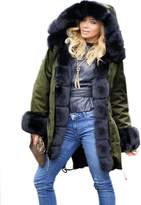 Roiii Luxury Women Faux Fur Coat Casual Hoodies Parka Long Trench Jacket Outwear