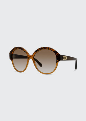 Celine Two-Tone Acetate Round Sunglasses