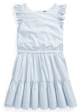 Polo Ralph Lauren Big Girl Striped Tiered Cotton Dress
