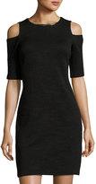 MICHAEL Michael Kors Cold-Shoulder Short-Sleeve Dress, Black