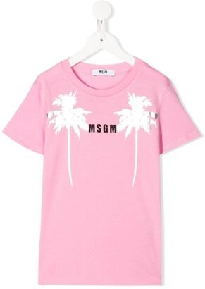 Msgm Kids palm-print cotton T-shirt