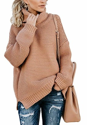 Comefohome Womens Chunky Turtleneck Sweater Long Sleeve Casual Solid Knitted Jumper Pullover Tops Ladies Pink XL