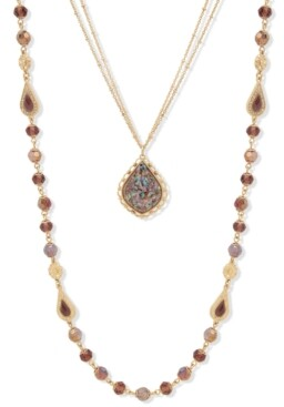 """lonna & lilly Gold-Tone Crystal & Stone Beaded 24"""" Convertible Layered Necklace"""