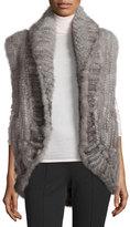 Adrienne Landau Knit Mink Open-Front Vest, Gray