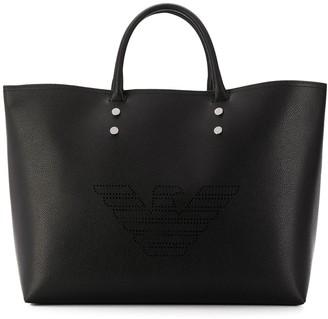 Emporio Armani embossed logo shopper tote