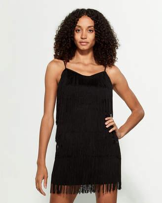1 STATE 1.State Spaghetti Strap Fringed Mini Slip Dress
