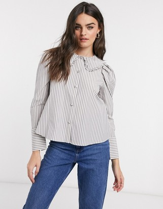 ASOS DESIGN long sleeve shirt with frill collar detail in stripe