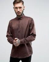 Asos Regular Fit Crinkle Organza Shirt In Rust