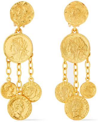 Oscar de la Renta Embossed Gold-tone Clip Earrings