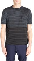 Lanvin Men's Distressed Colorblock Stripe T-Shirt